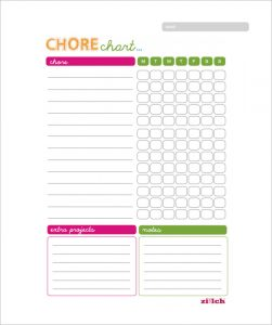 weekly chore chart template weekly chore chart for family free pdf template