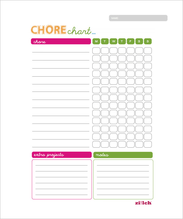 Monthly Chore Calendar : Weekly chore chart template business