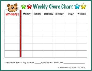 weekly chore chart tiger weekly chore border