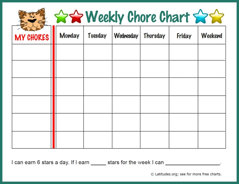 photograph relating to Weekly Chore Chart Printable named Weekly Chore Chart Template Business enterprise