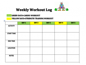weekly food journal weekly workout log