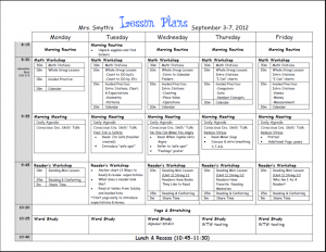 weekly lesson plan for preschool lesson