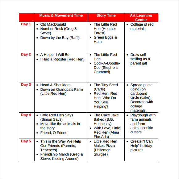 Weekly Lesson Plan For Preschool Template Business - Preschool weekly lesson plan template