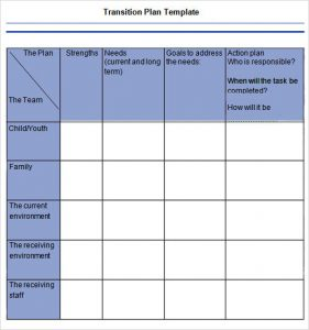 weekly lesson plan for preschool transition plan template