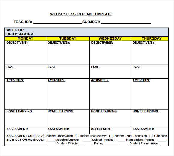 Weekly Lesson Plan Template Doc Template Business - Lesson plan template doc