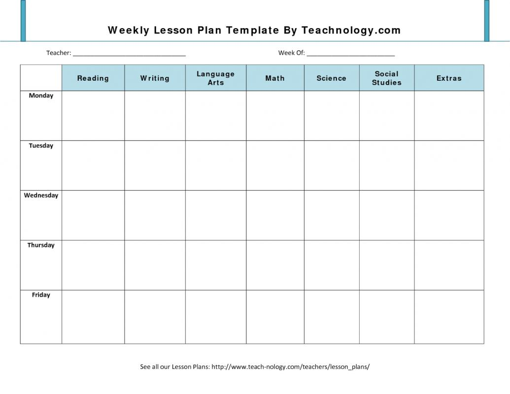 printable weekly lesson plan templates