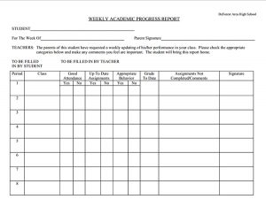 weekly progress report template student weekly progress report template