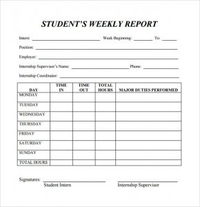 weekly report template student weekly report template