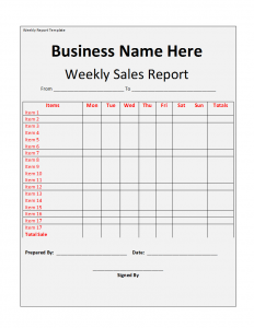 weekly report template weekly report template image
