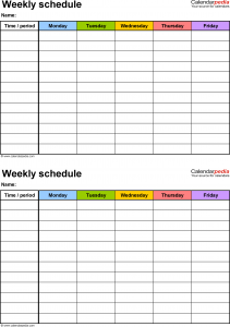 weekly schedule template word weekly class schedule