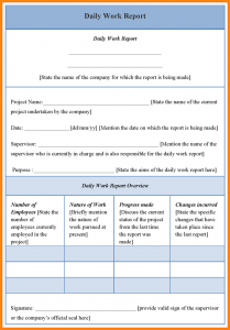 weekly status report template daily work report sample daily work report form daily work report template