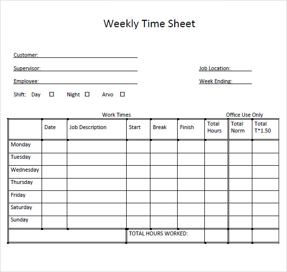Weekly Timesheet Template  Template Business