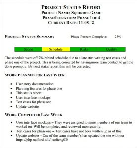weekly update template weekly status report image
