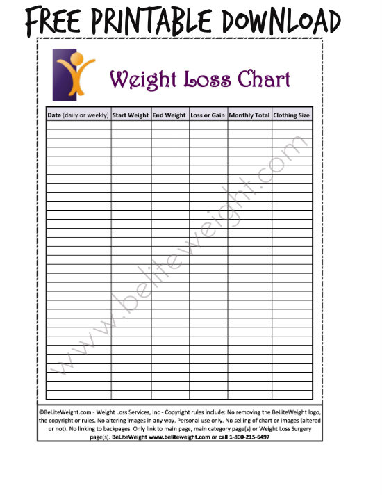 weekly weight loss chart