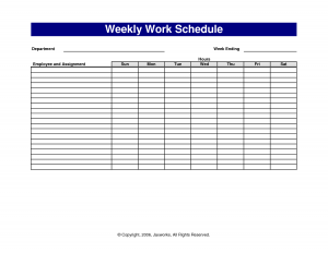 weekly work schedule template free weekly work schedule template