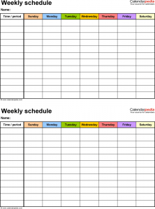 weekly work schedule template weekly work schedule