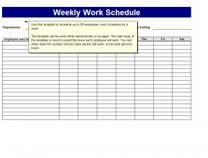 weekly work schedule template weekly work schedule template