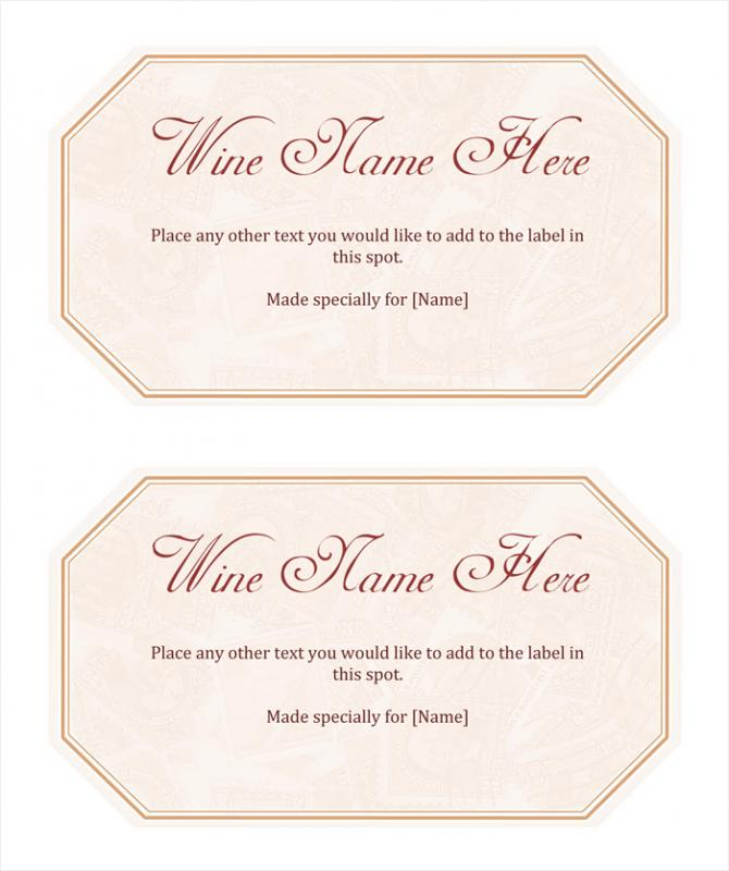 Wine Label Template  Free Wine Label Template