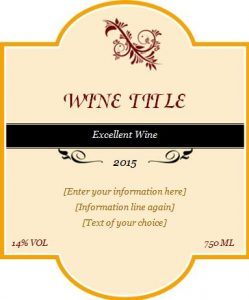 wine label template wine label