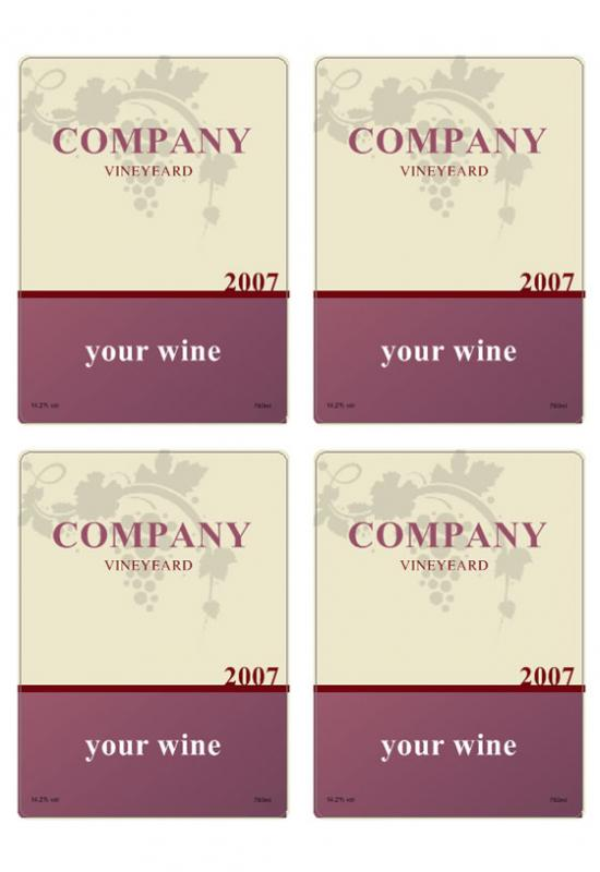 wine label template