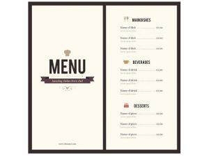 word menu template menu template