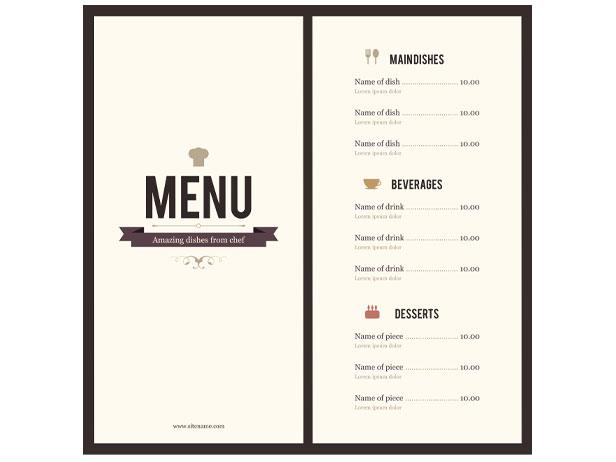 word menu template