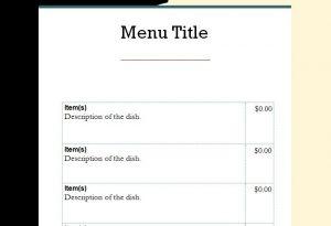 word menu template menu template word
