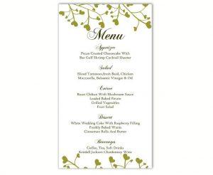 word menu template wedding menu template diy menu card template editable text word file instant download green menu heart menu template printable menu xinch