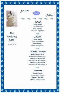 word menu template wedding menu template sd x