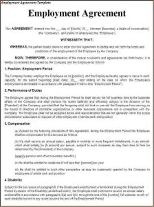 work contract template employment contract template employment agreement template