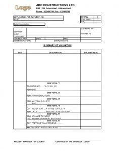 work estimate template payment application construction format