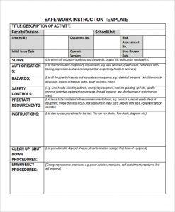 work instruction template safe work instruction template