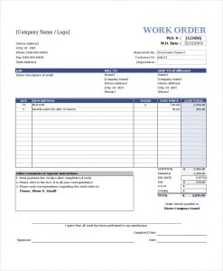 work order template free work order template excel
