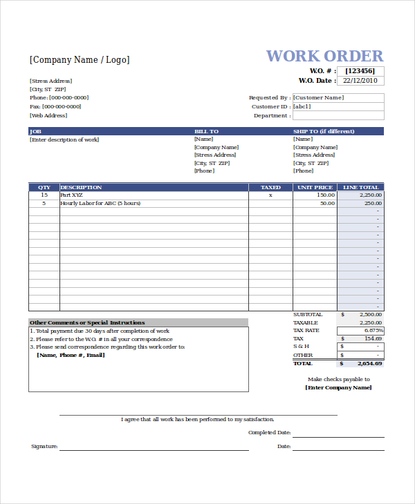 Work Order Template Template Business - Work order invoice template free