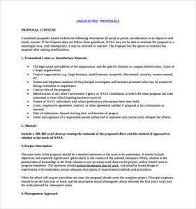 work proposal template nasa unsolicited proposal template