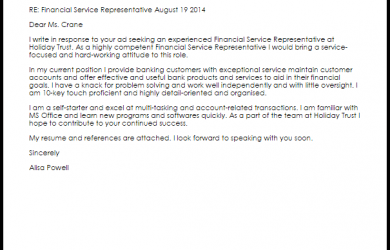 work recommendation letter financial service representative