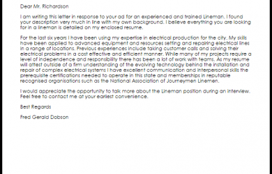 work reference letter lineman
