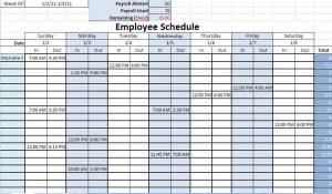 work schedule template printable work schedules