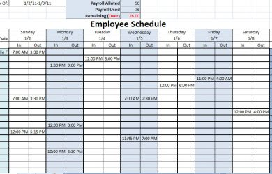 work schedule template printable work schedules
