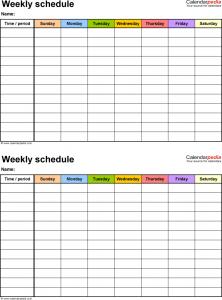 work schedule template weekly work schedule