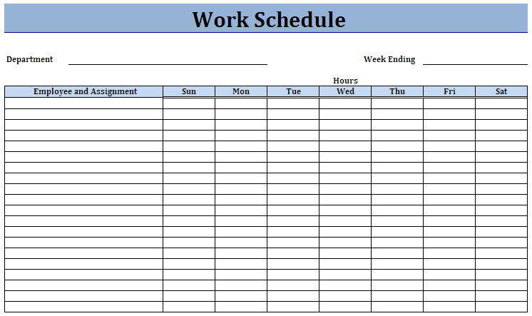 Work Schedule Template  Template Business
