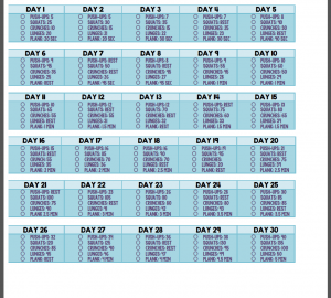 workout calendar free day workout challenge template