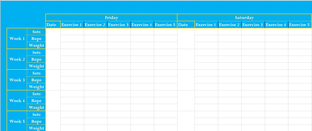 weight training log template - workout log excel template business