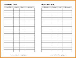 workout tracking spreadsheet