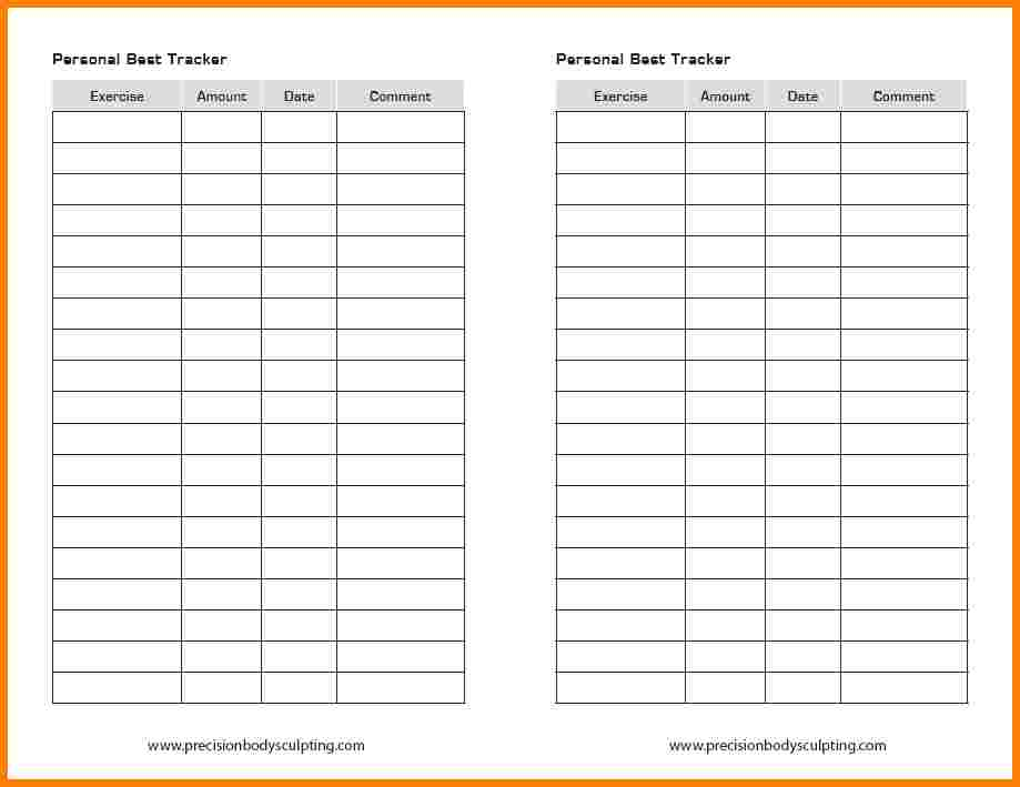excel workout tracker
