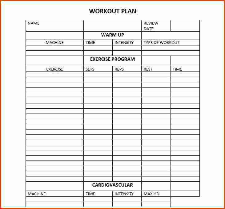 workout program template template business. Black Bedroom Furniture Sets. Home Design Ideas