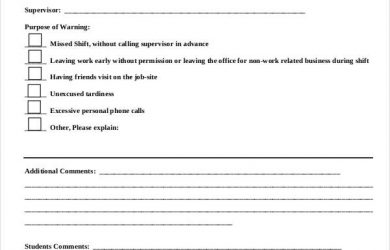 write up form student employee disciplinary warning form