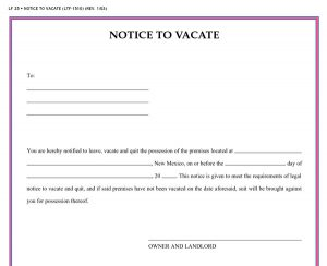 written notice to vacate vacate notice