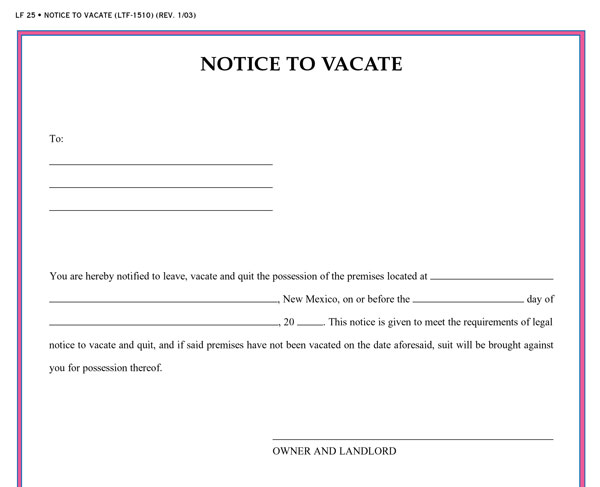 written notice to vacate